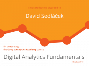 certifikát Digital Analytics Fundamentals