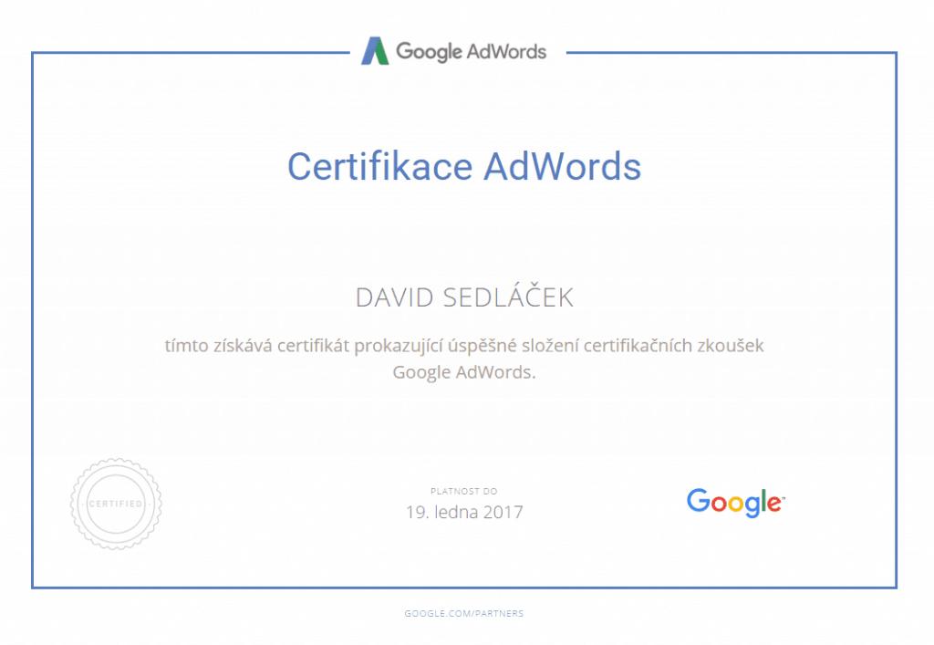 Certifikát Google Adwords