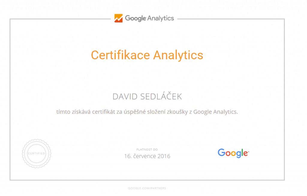 Certifikát Google Analytics