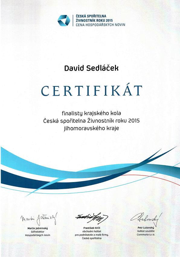 Certifikát Živnostník roku