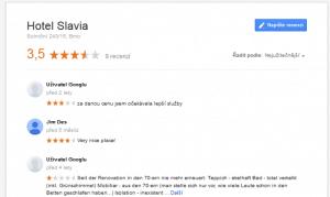 Ukázka hodnocení na Google Places